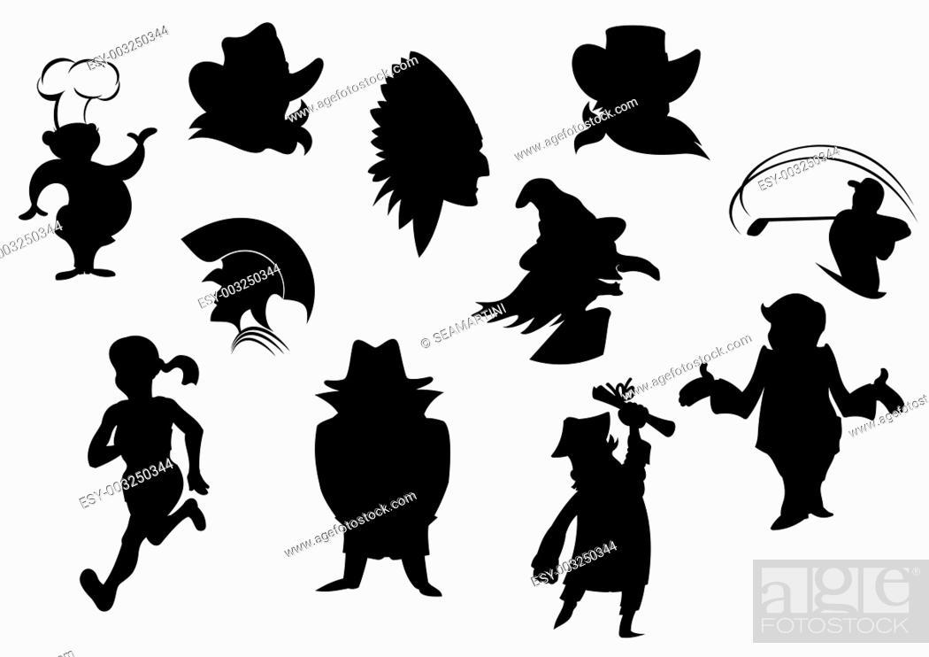 Stock Photo: Set of cartoon silhouettes isolated on white background.