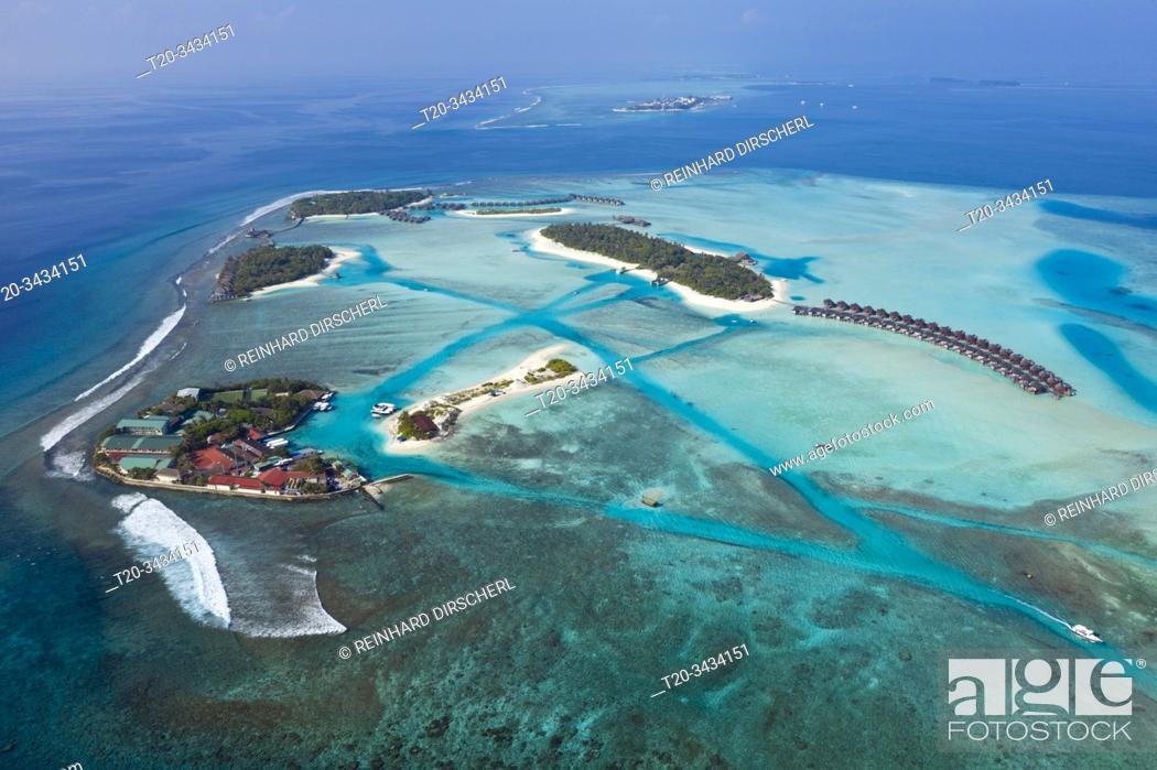 Imagen: Vacation Island Dhigufinolhu and Veligandu, South Male Atoll, Indian Ocean, Maldives.