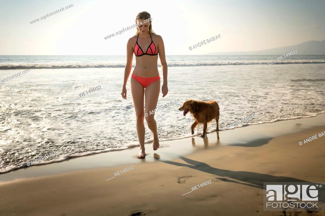 Stock Photo: Young attractive woman in bikini walking with Golden Retriever dog at beach. Riviera Nayarit, Mexico.