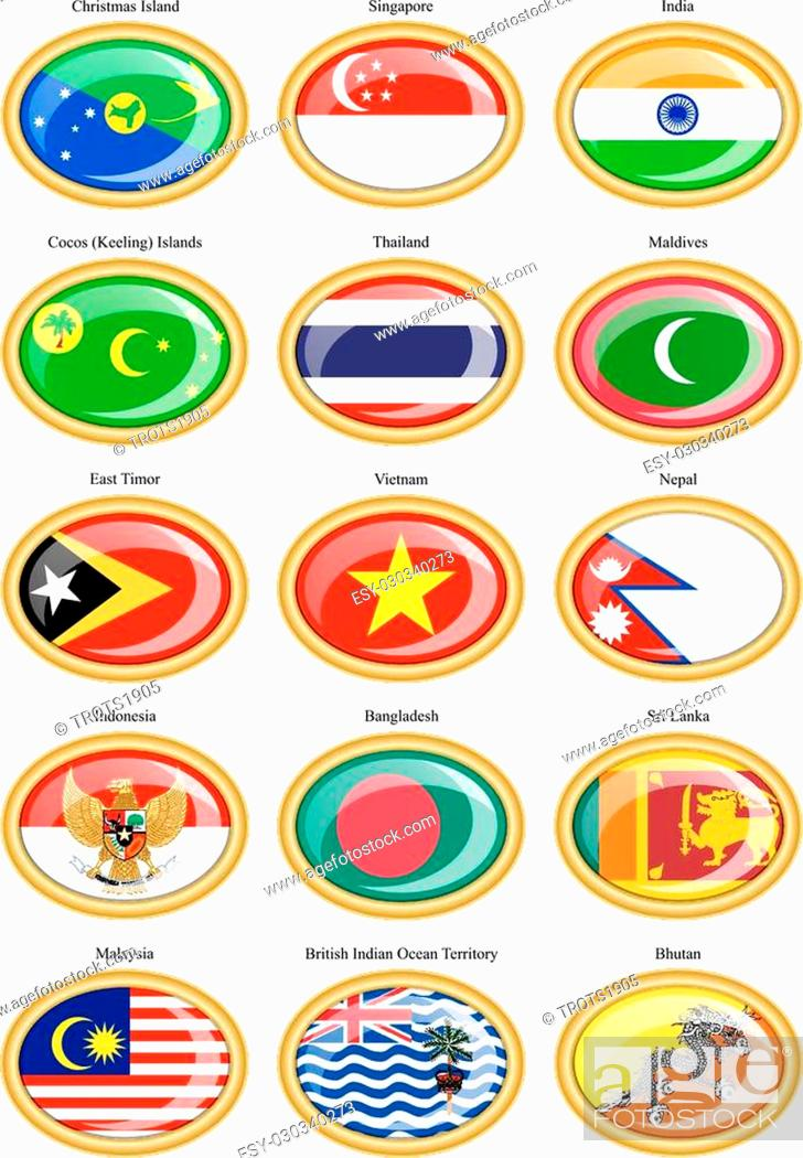 Stock Vector: Set of icons. Flags of the Southern Asia.