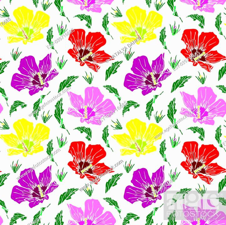 Stock Vector: blooming pink, red and yellow mallow, seamless pattern isolated on white background, hand-drawn pattern.