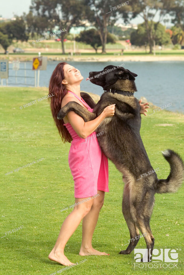 Stock Photo: Woman gets a kiss from a large dog at park.