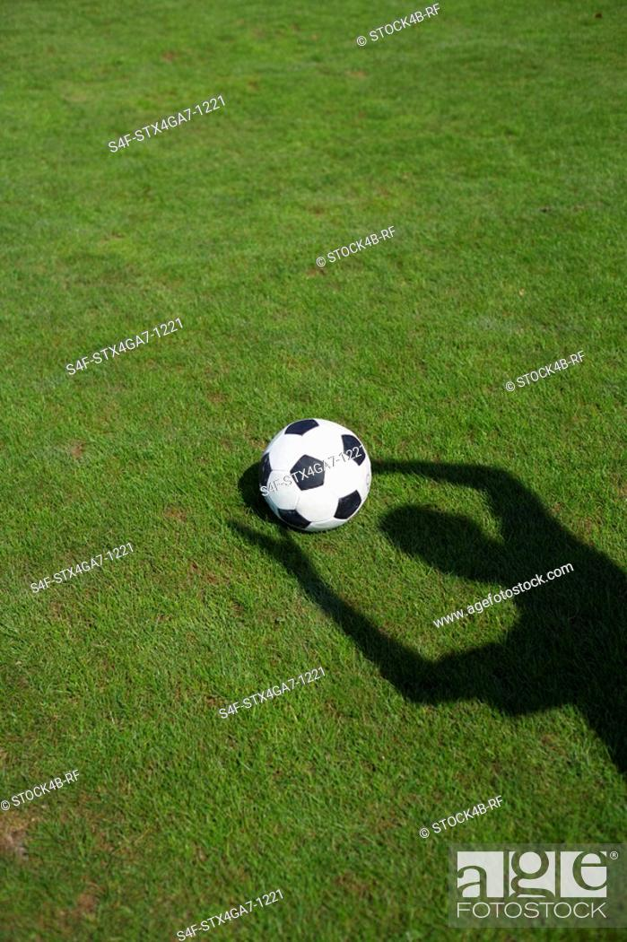 Stock Photo: Ball on grass, shadow of a person.