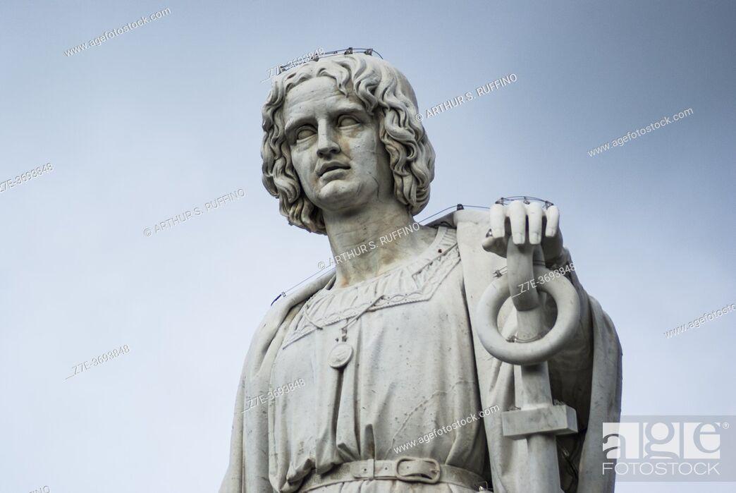 Stock Photo: Detail of Monument to Christopher Columbus (Monumento a Cristoforo Colombo). Piazza Acquaverde, Genoa, Liguria, Italy, Europe.