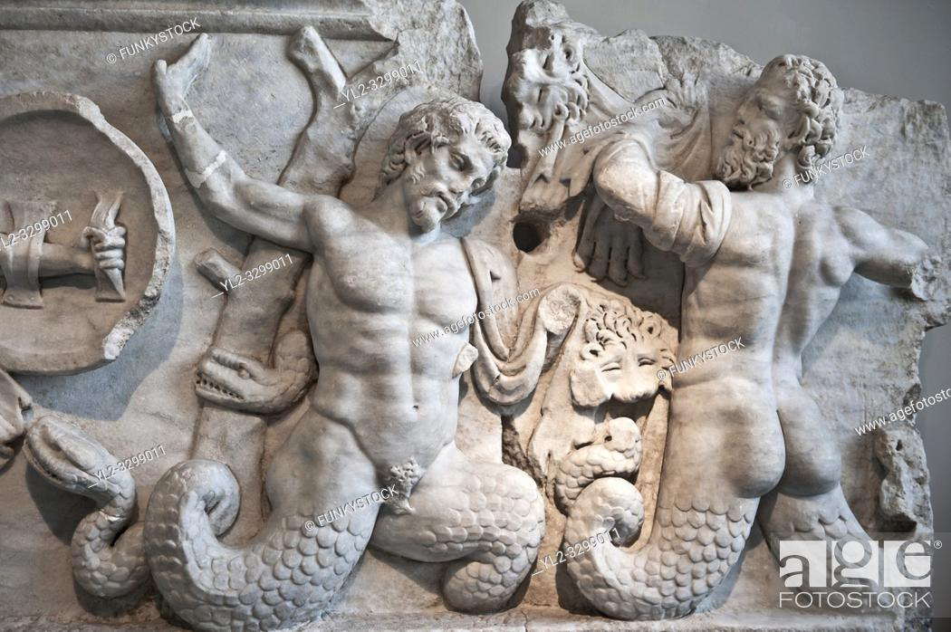 Stock Photo: 2nd Cent. AD Roman relief sculpture depicting the struggle of Athena ( the goddess of wisdom, skill & warfare) fighting the Gigantes ( Giants).