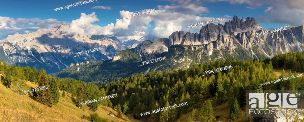 Stock Photo: Croda da Lago & Lastoni di Formin mountain ranges, Dolomite Mountains, Belluno, Italy.