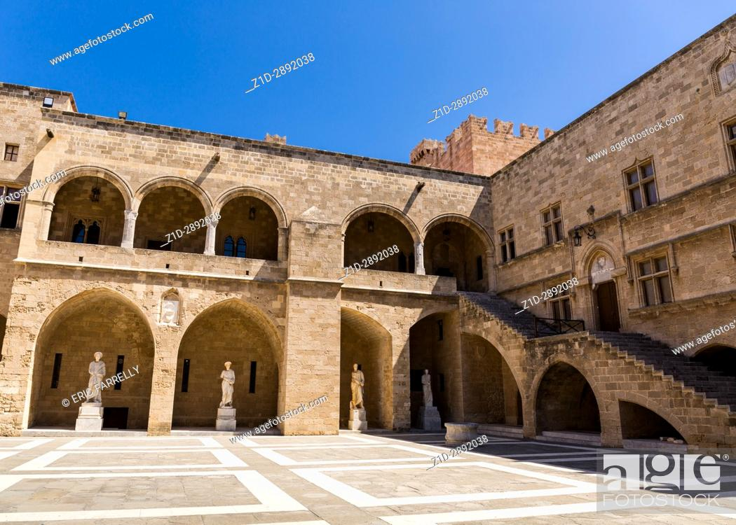 Stock Photo: The courtyard of the Palace of the Grand Master of the Knights. Medieval castle in the old city of Rhodes, Greece.