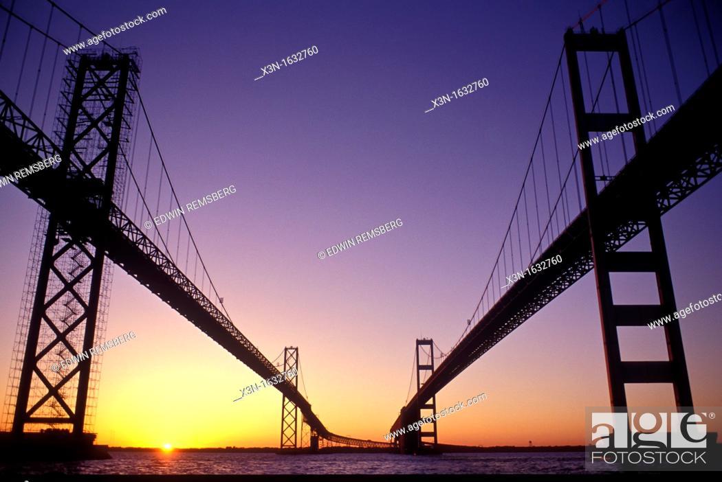 Stock Photo: Chesapeake Bay Bridge, Maryland.