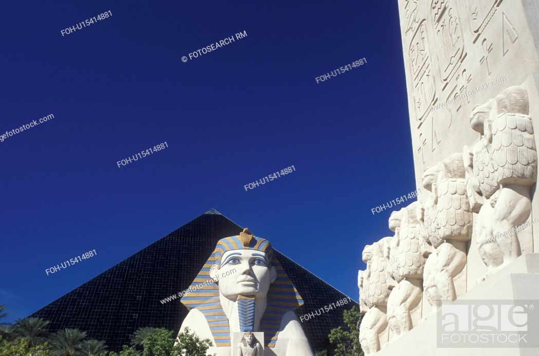 Stock Photo Luxor Las Vegas Pyramid Sphinx Nevada Nv The Strip Giant And Shaped Hotel At On