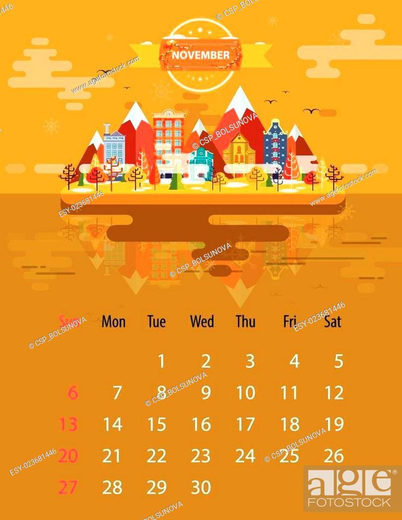 Stock Vector: Calendar of november.