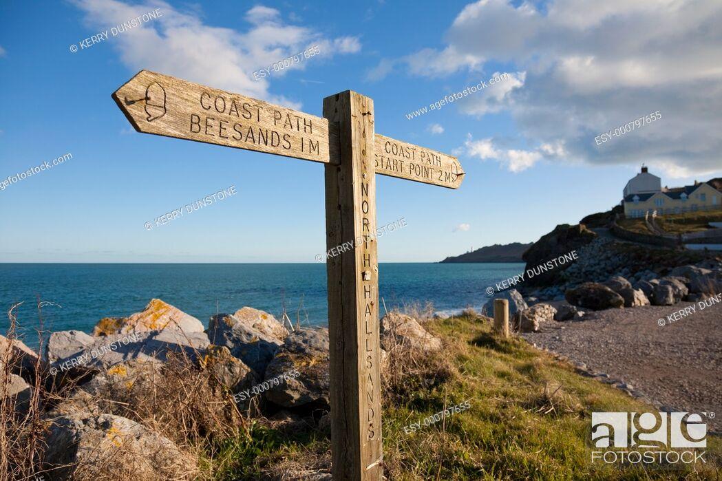 Stock Photo: England Devon North Hallsands with signpost for South Devon coast path.