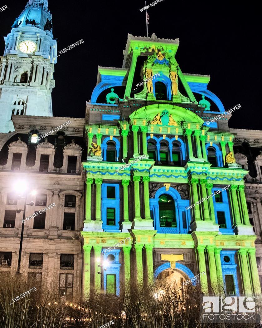 Stock Photo: Deck the Hall Light Show at City Hall, Holiday Lights in Philadelphia , Pennsylvania, USA.