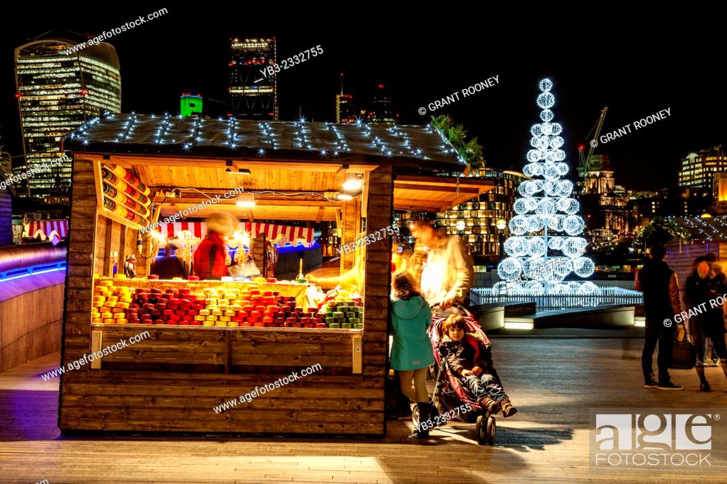 Stock Photo: A Cheese Stall At More London Christmas Market, London, England.