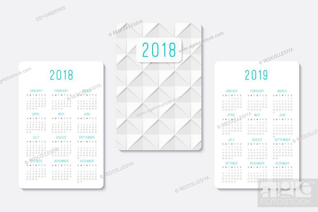 Stock Vector: pocket calendar 2018 and 2019 years, template of geometric abstract background.