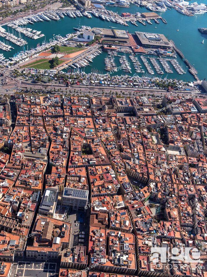 Stock Photo: Aerial view of Ciutat Vella Quarter and sea port in Barcelona.