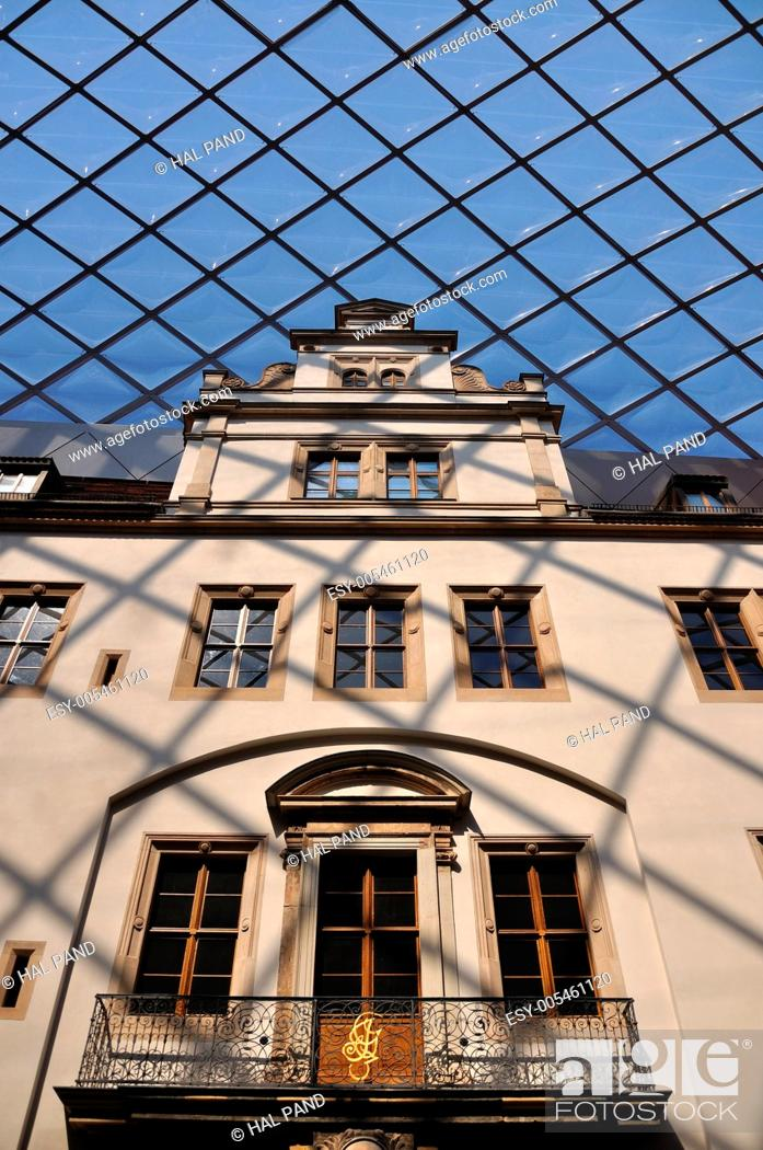 Stock Photo: detail of the glass roofing of a covered court of the museum in dresden castle, freshly rebuilt after second world war damages.