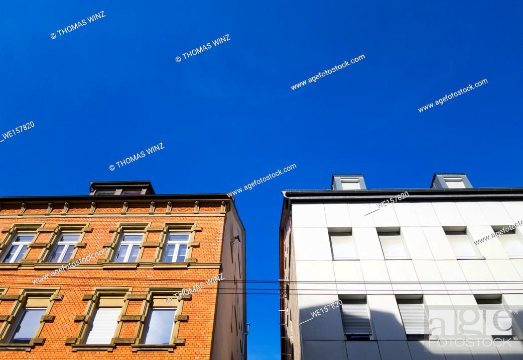 Stock Photo: Contrast of two buildings, nice and ugly, Stuttgart, Germany.