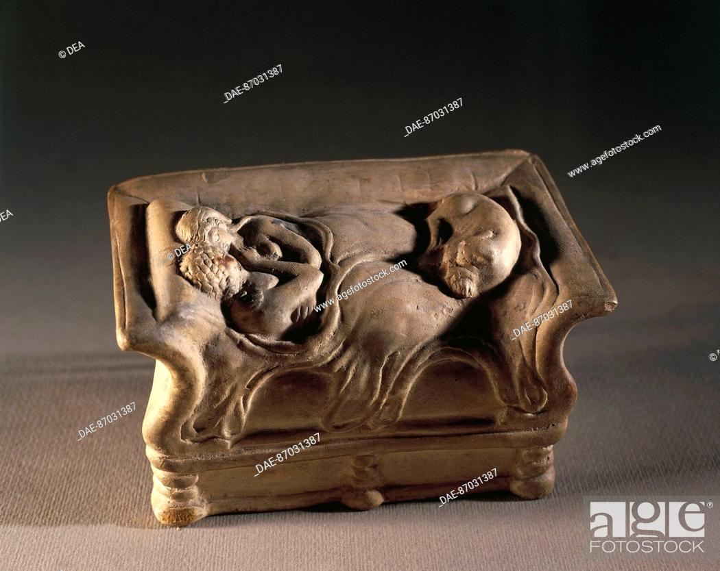 Stock Photo: Gallo-Roman art, II-III century AD Terracotta called Lovers of Bordeaux.  Saint Germain-En-Laye, Musée Des Antiquités Nationales (Archaeological And Middle Age.