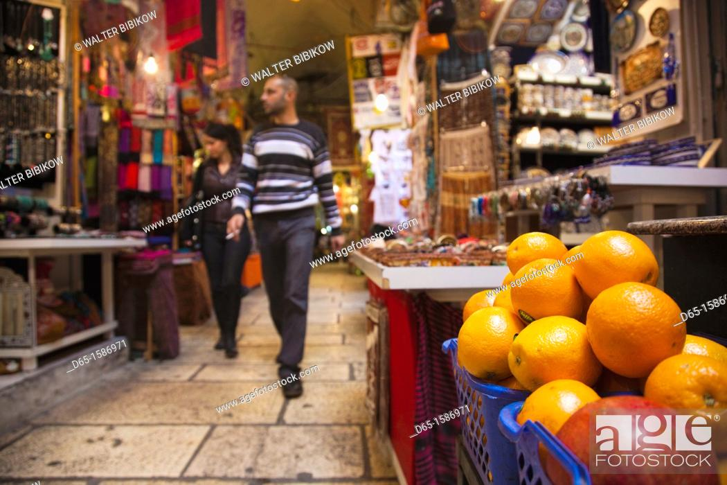 Stock Photo: Israel, Jerusalem, Old City, covered market, NR.