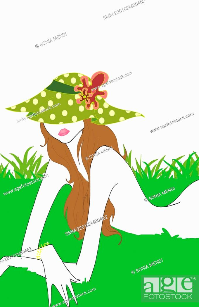Stock Photo: Young woman lying naked in grass.