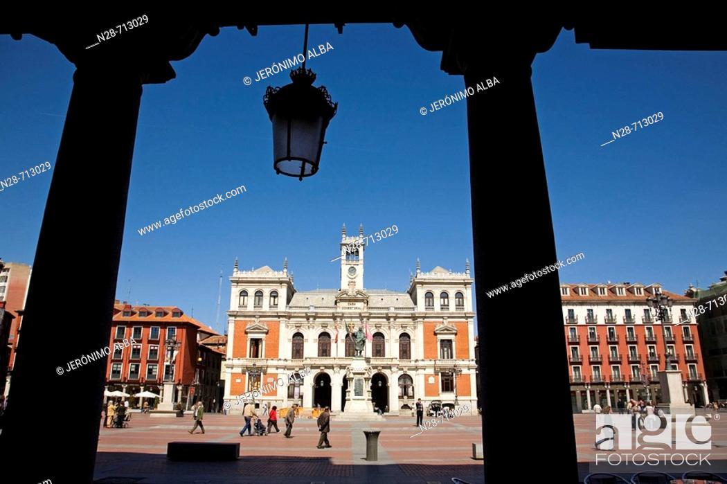 Stock Photo: Spain, Castilla Leon, Valladolid, Plaza Mayor, City Hall, people.
