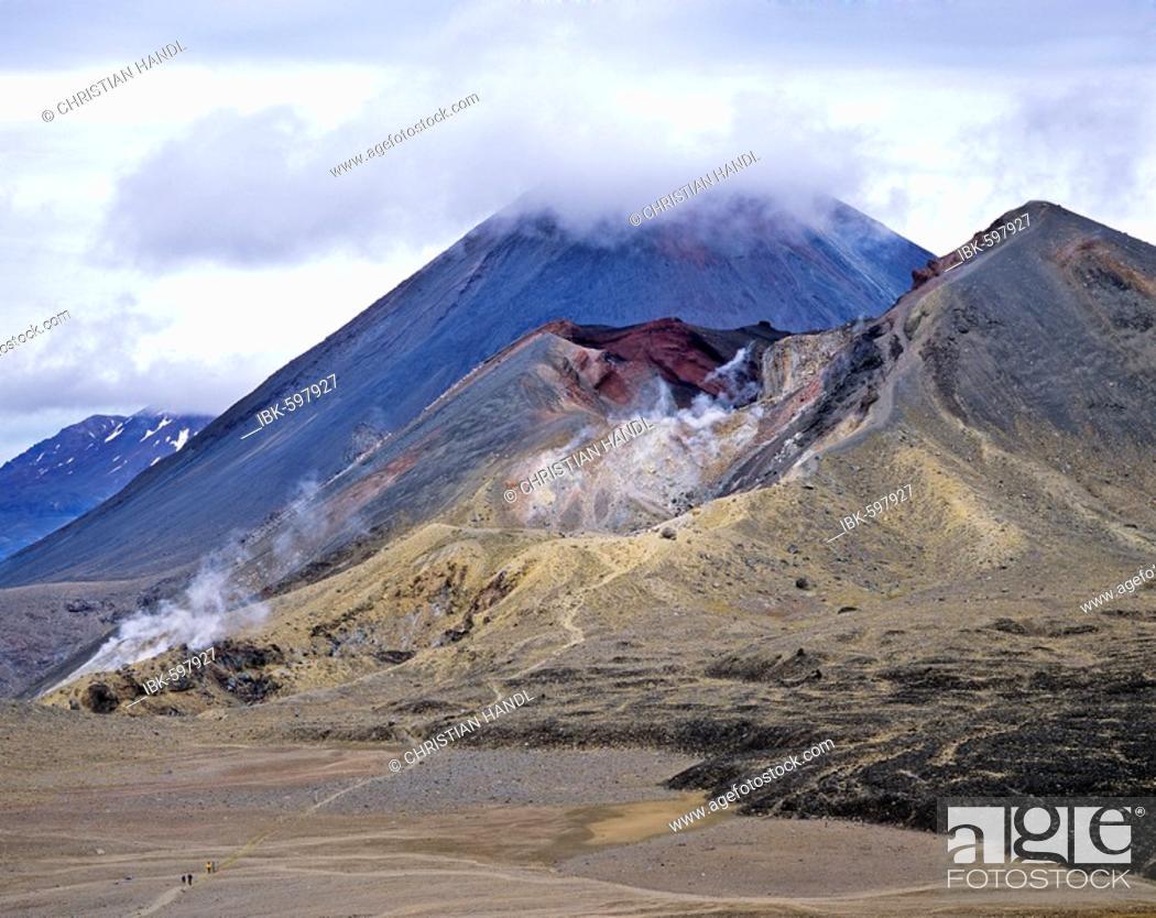 Stock Photo: Red Crater ith Mt. Ngauruhoe in background, Tongariro Crossing, Tongariro National Park, North Island, New Zealand, Oceania.