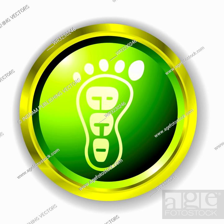 Stock Vector: green eco foot print icon with gold bevel and outer shadow.