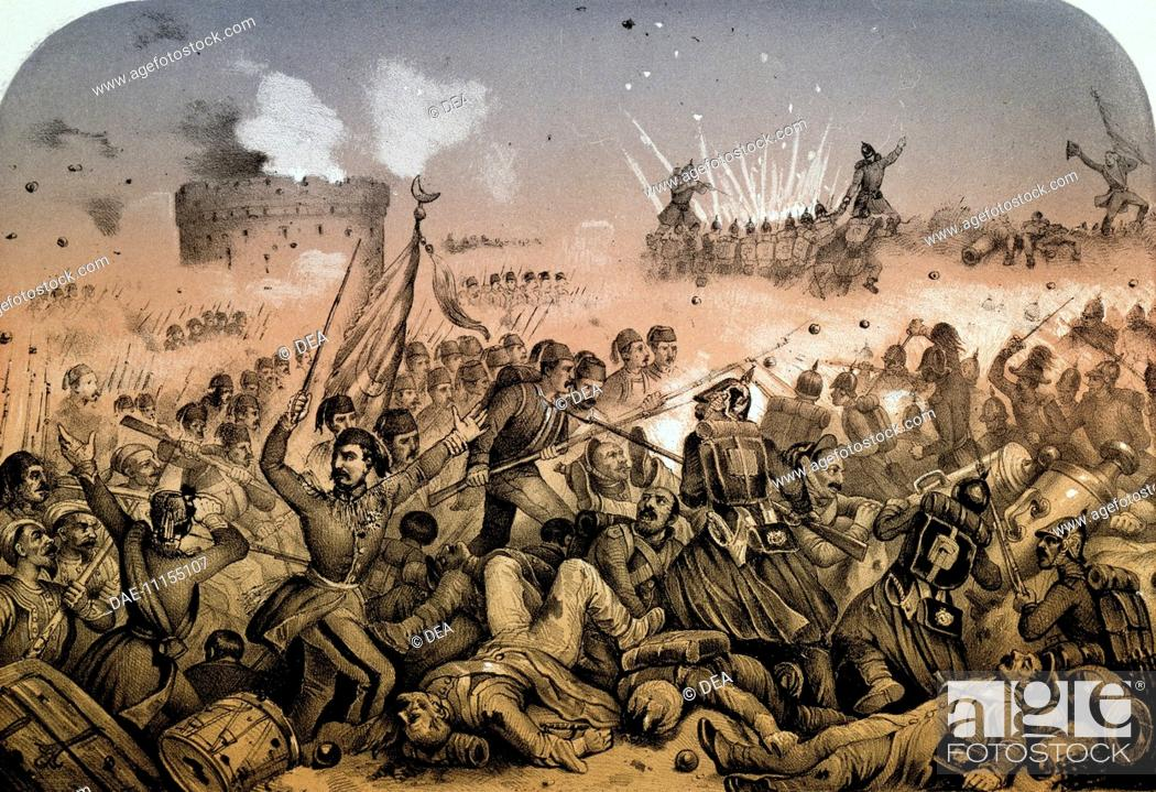 Stock Photo: Battle of Biela. Russo-Turkish War, 19th century.  Paris, Bibliothèque Nationale De France (Library).