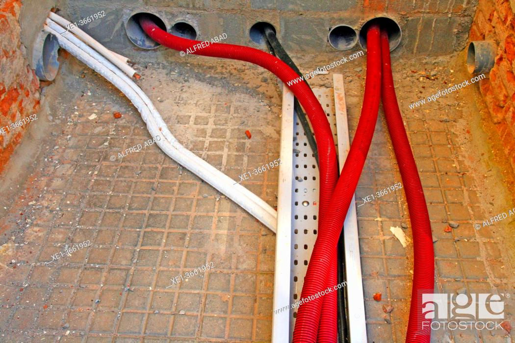 Photo de stock: corrugated pipe of electric cables, Sant Cugat del Vallès, Catalonia, Spain.