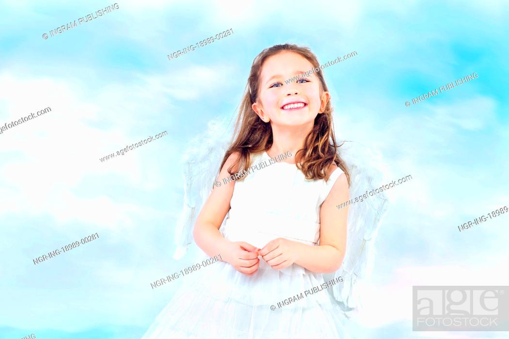 Stock Photo: Cute little princess with pretty wide smile.