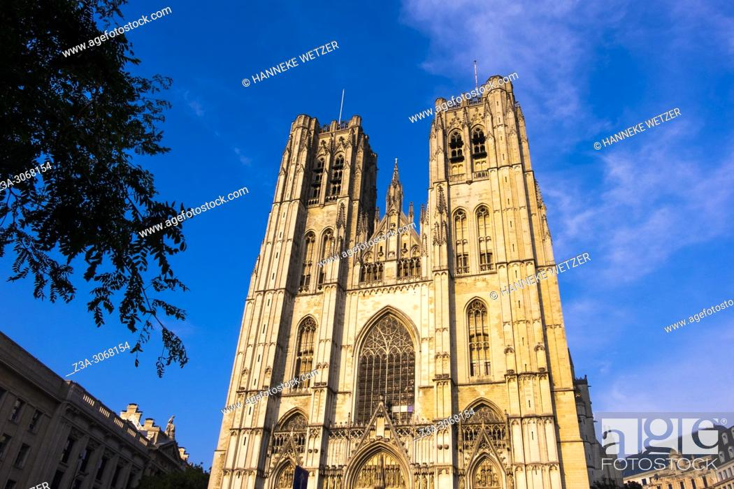 Stock Photo: The Cathedral of St. Michael and St. Gudula, Brussels, Belgium, Europe.