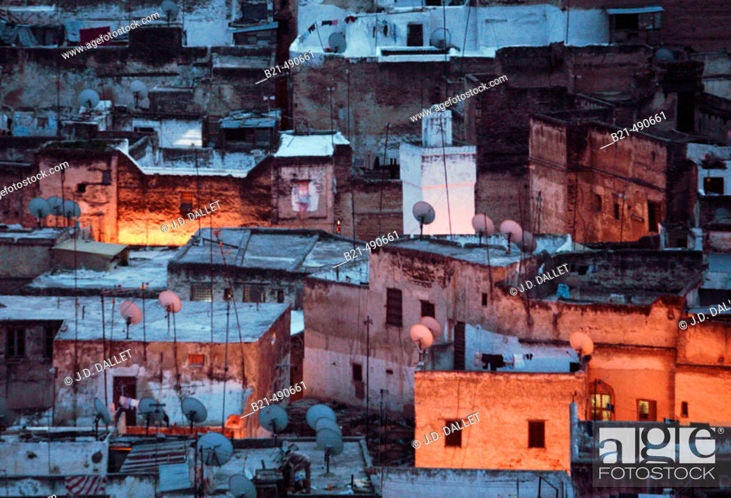 Stock Photo: Medina of Fes, covered with statelite dishes. Fes. Morocco.