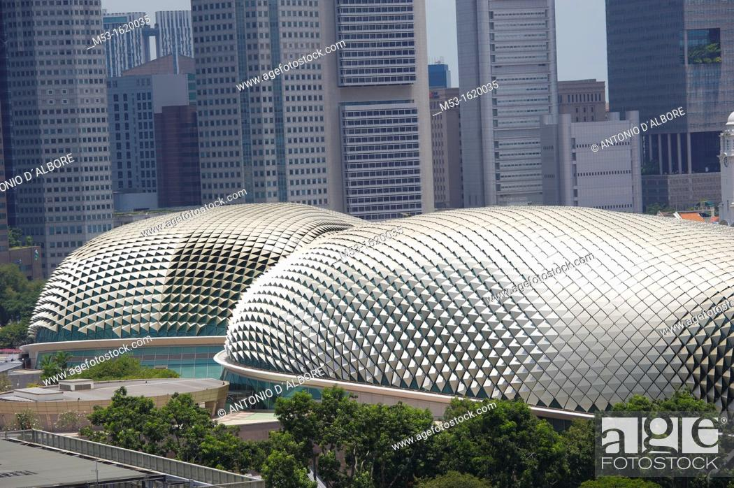 Stock Photo: The durian-shaped dome of Esplanade – Theatres on the Bay  The multifucntional structure is a popular local landmark and it is located in Marina Bay  Singapore.
