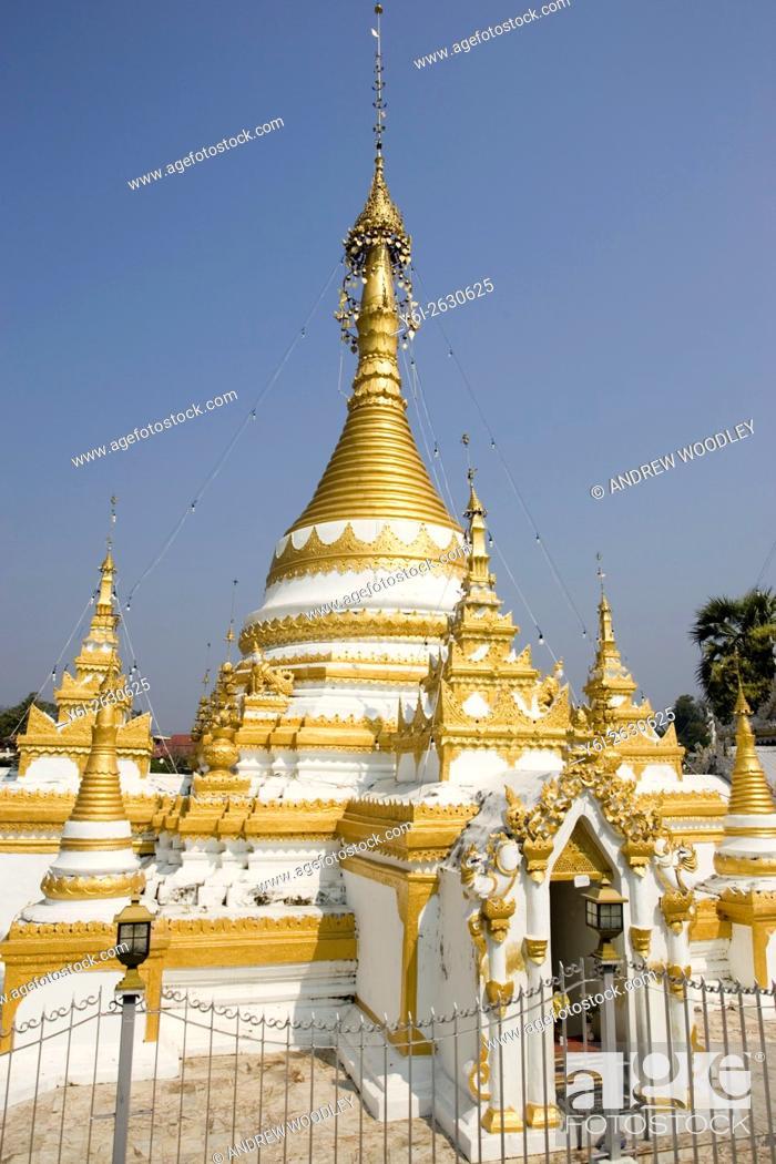 Stock Photo: Wat Jong Klang gold chedi Mae Hong Son north Thailand.