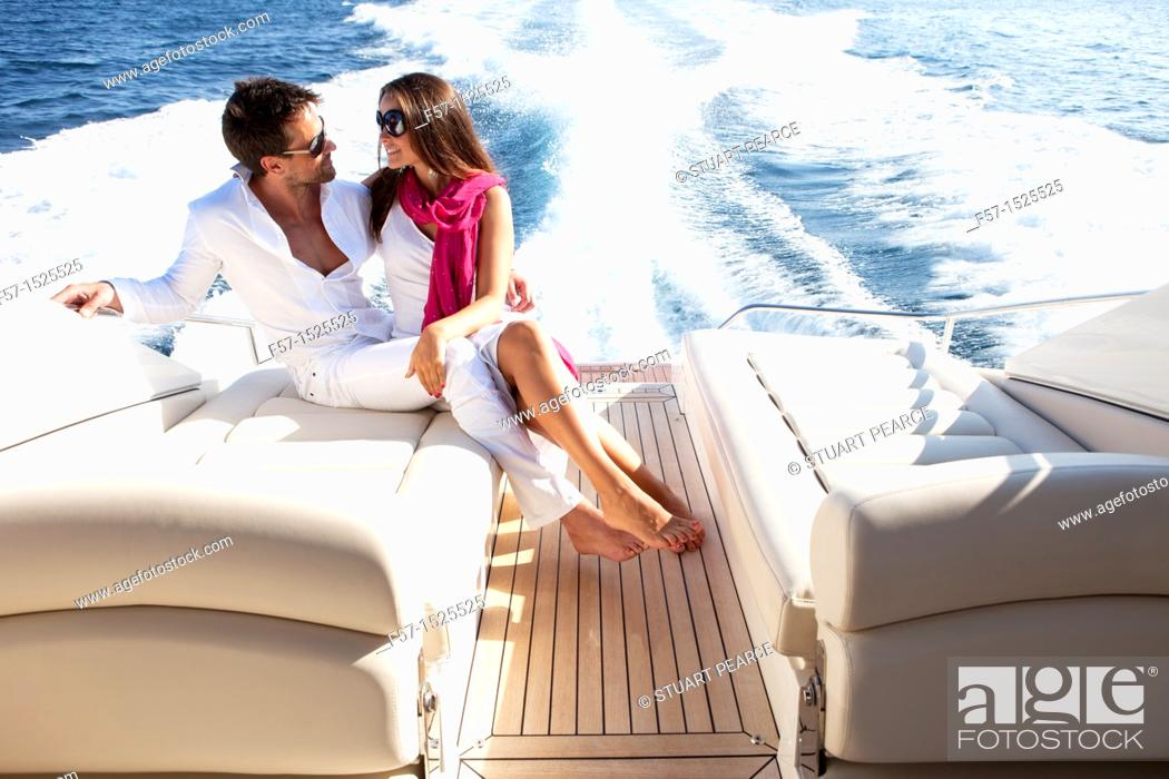 Stock Photo: Couple in yacht.