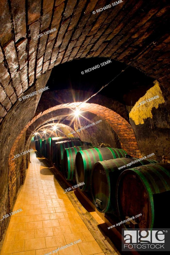 Stock Photo: wine cellar, Jan Vanek Winery, Chvalovice, Czech Republic.