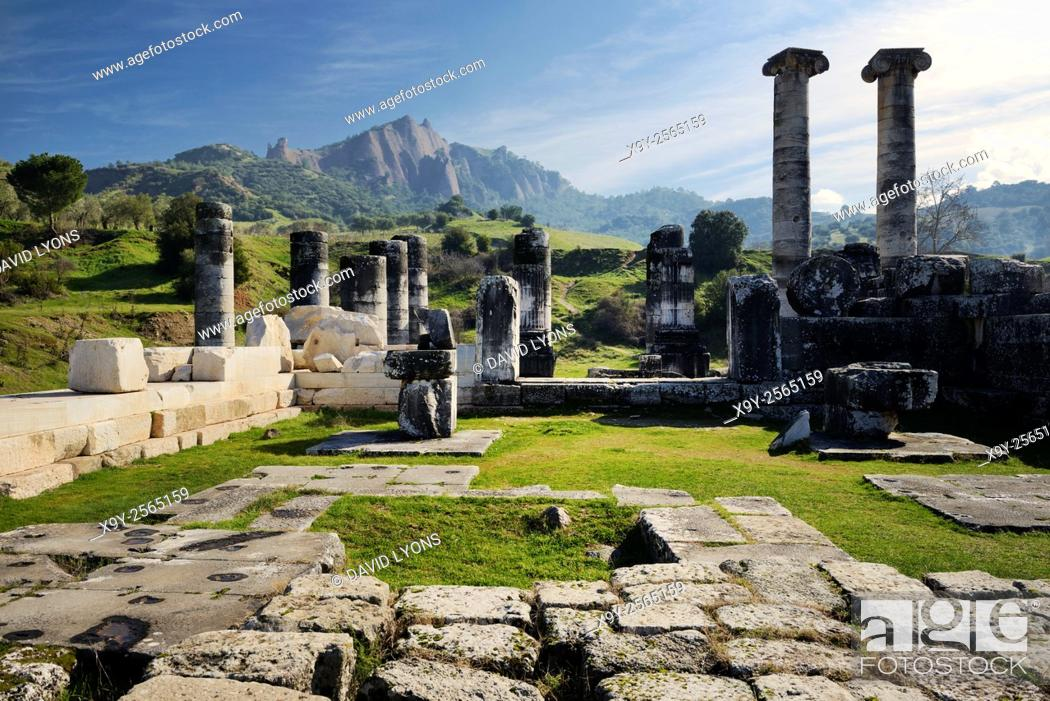Stock Photo: Ionic style Temple of Artemis in the ancient Greek city of Sardis in Lydia, Turkey dates from 300 BC. Renovated by Romans 200 AD.