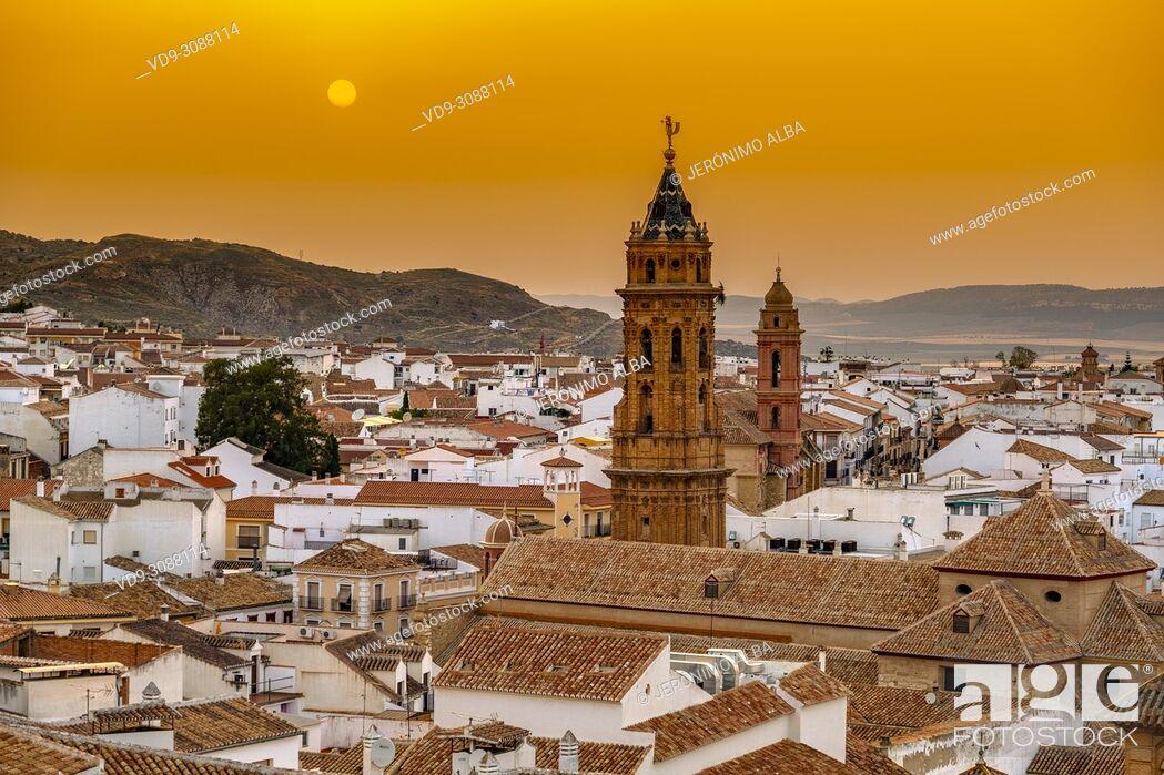 Stock Photo: San Sebastian church at dusk, monumental city Antequera. Malaga province Andalusia. Southern Spain Europe.