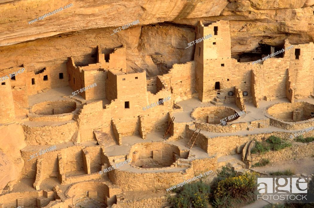 Stock Photo: Evening light on detail of Cliff Palace Ruin, Mesa Verde National Park World Heritage Site, Colorado.