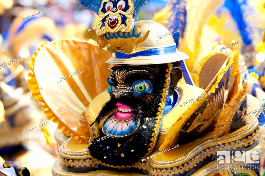 Stock Photo: Morenada Dancer Wearing An Elaborate Mask And Costume In The Procession Of The Carnaval De Oruro, Oruro, Bolivia.