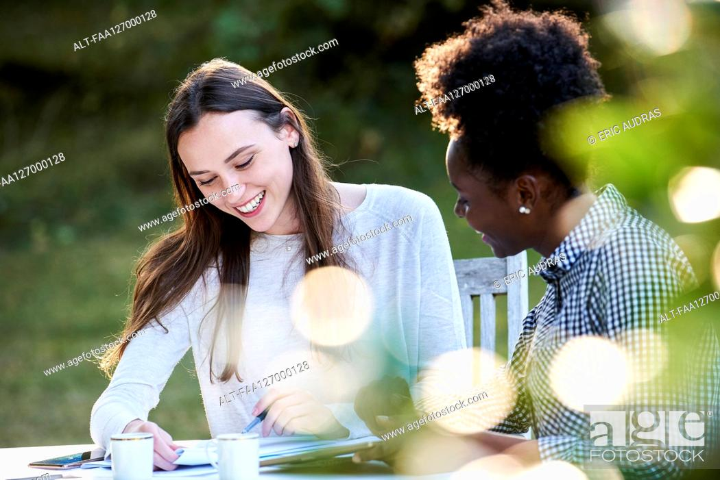Photo de stock: Smiling young friends studying at table in park.