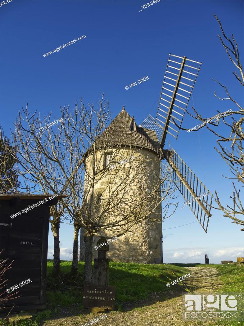 Stock Photo: historic windmill, built in 1620, Tourtres, Lot-et-Garonne Department, Nouvelle Aquitaine, France.
