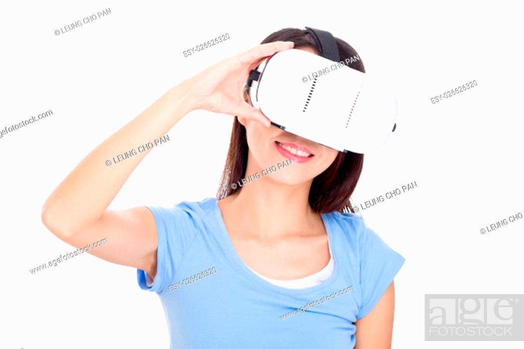 Stock Photo: Woman experience of virtual reality device.