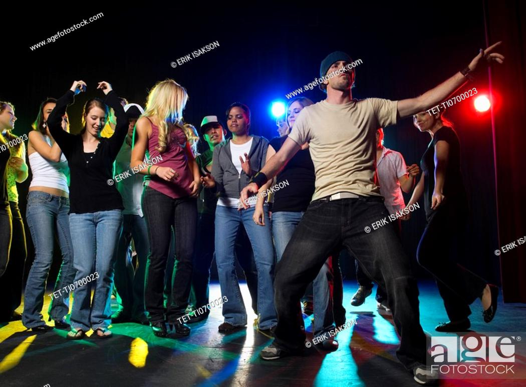 Stock Photo: Young people at dance club.