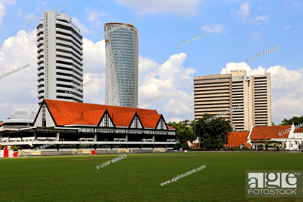 Stock Photo: Independence Square with the Selangor Club behind in Kuala Lumpur.