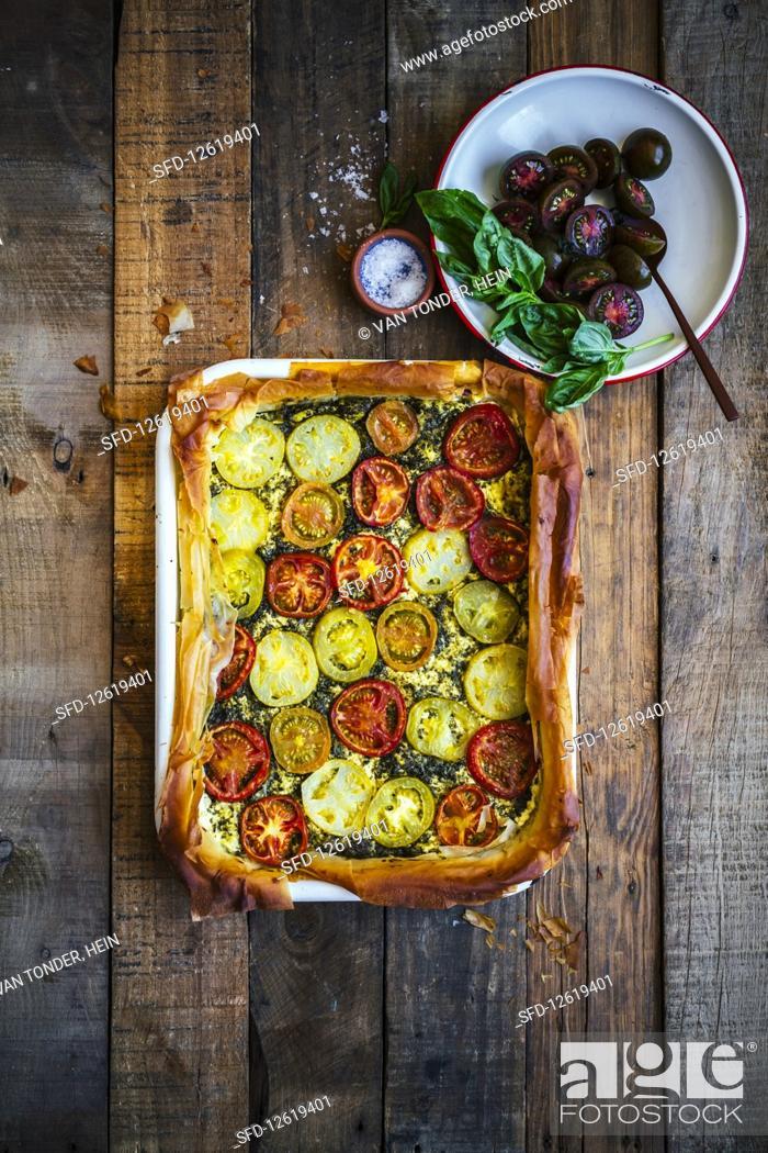 Imagen: Heirloom tomatoe tart.