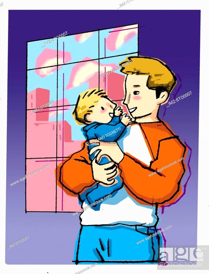 Stock Photo: A father holding his baby son affectionately.