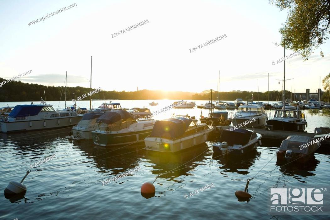 Stock Photo: Sweden, Stockholm, marina at sunset.
