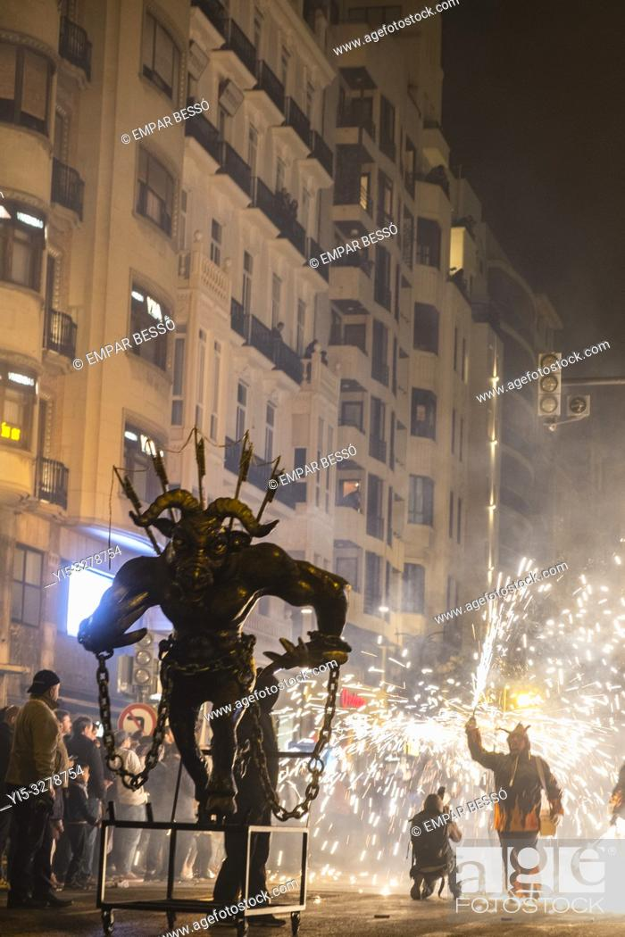 Stock Photo: Correfoc. Street parade with fireworks. Fallas festival. València. Spain. 2019.