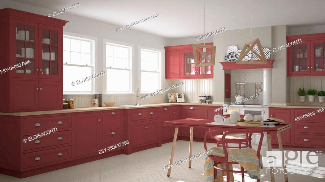 Stock Photo: Scandinavian classic kitchen with wooden and red details, minimalistic interior design.